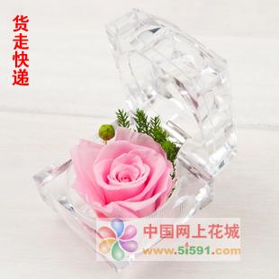 厦门订花-戒指盒保鲜花-粉玫瑰