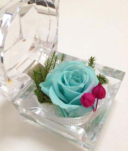 戒指盒保鲜花-天蓝玫瑰