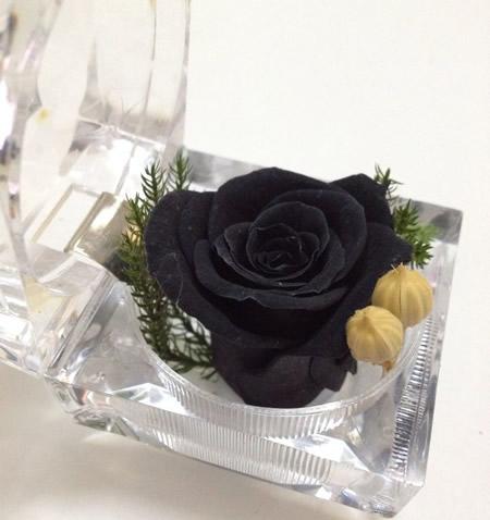 戒指盒保鲜花-黑玫瑰