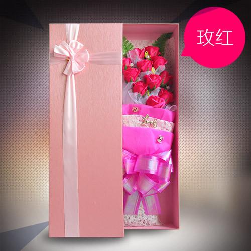 爱思水果篮:香皂花礼盒单玫红色