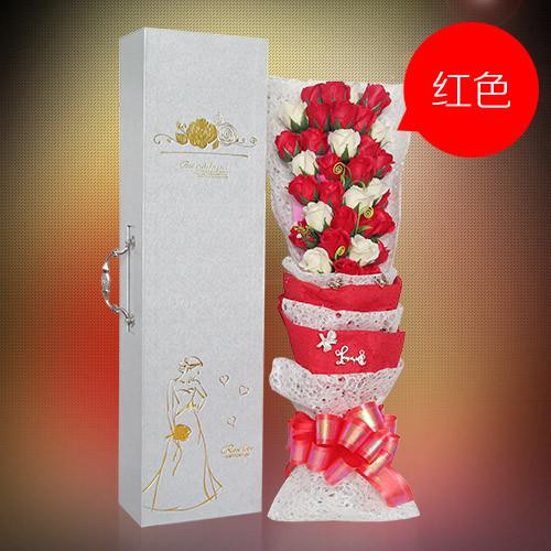 爱思鲜花:33朵搭配红香皂花