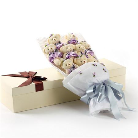 紫色小熊花束9支礼盒