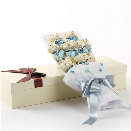 蓝色小熊花束9支礼盒