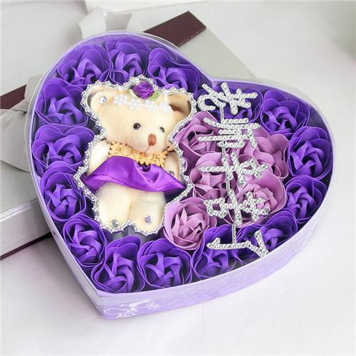厦门肥皂花:18朵紫色老师辛苦了+小熊