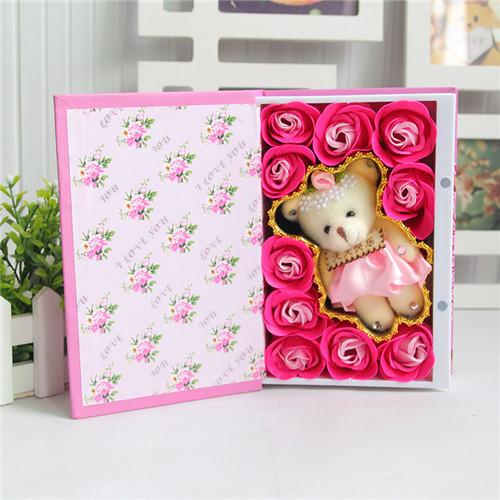 济南肥皂花:10朵书本桃李满天下+小熊粉色