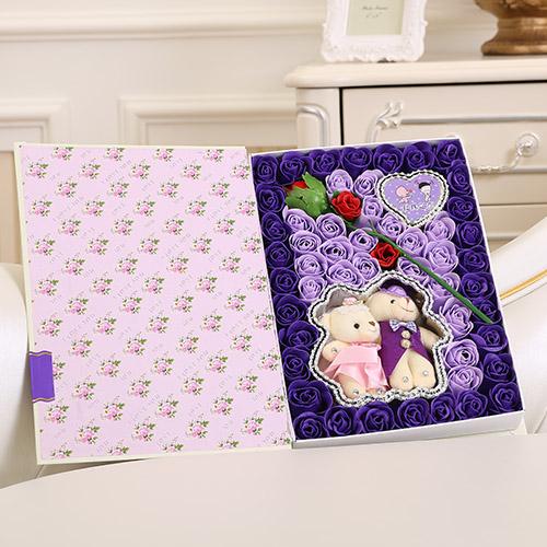 台州肥皂花:香皂花一枝花+抱熊 紫色