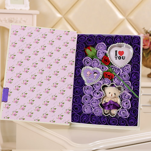 上海肥皂花:香皂花一枝花+小熊 灯 紫色