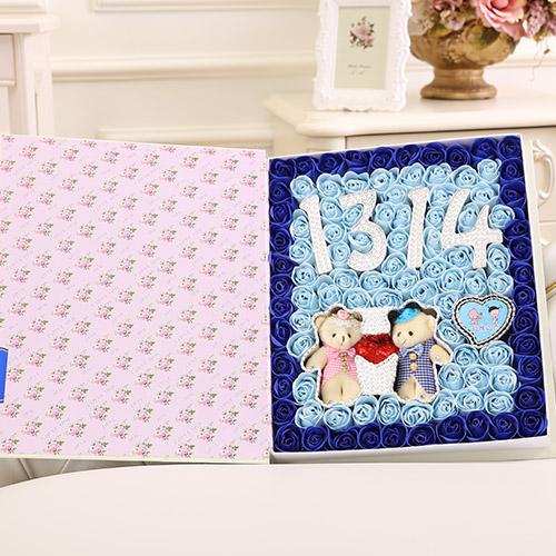 丽水肥皂花:香皂花1314+牵手熊 蓝色