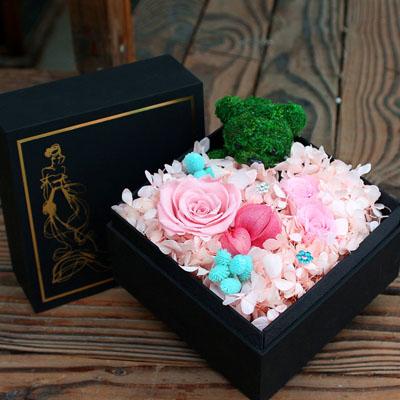 厦门网络订花-永生花 3朵粉玫瑰