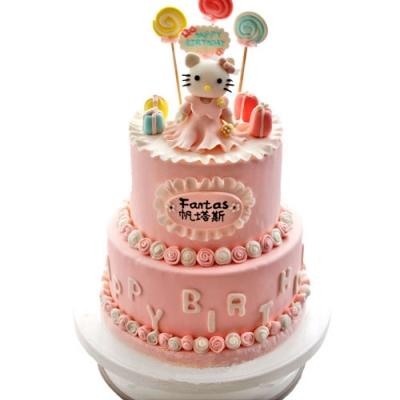 台州生日蛋糕:翻糖蛋糕 红烛当杯